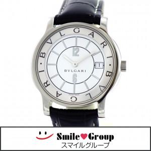 3 ブルガリ ソロテンポ ST35S 腕時計 ベルト 尾錠 社外品 革ベルト ホワイト文字盤 クォーツ メンズ (1)
