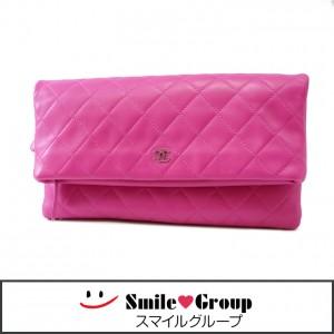3 CHANEL シャネル ラムスキン マトラッセ クラッチバッグ A69391 ピンク かわいい ポーチ 女性 レディース (1)